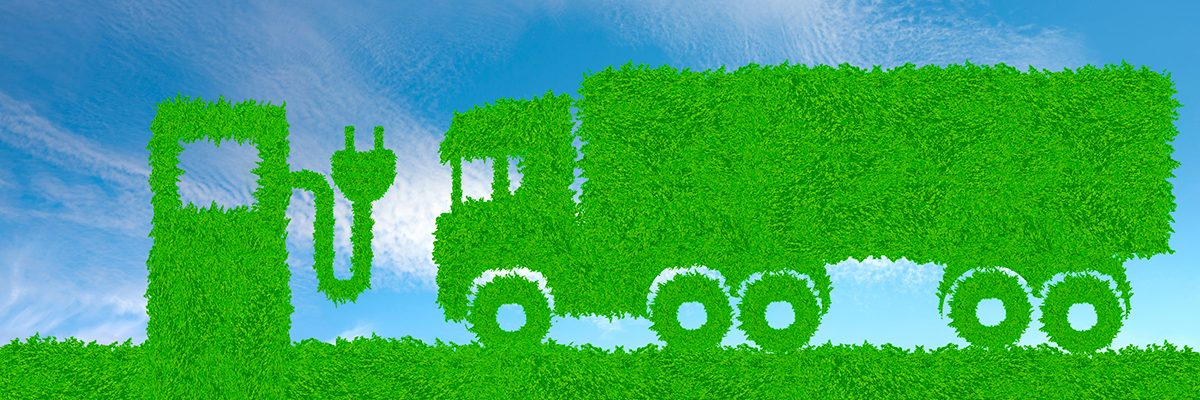 environmentally friendly transport concept, green truck and elec